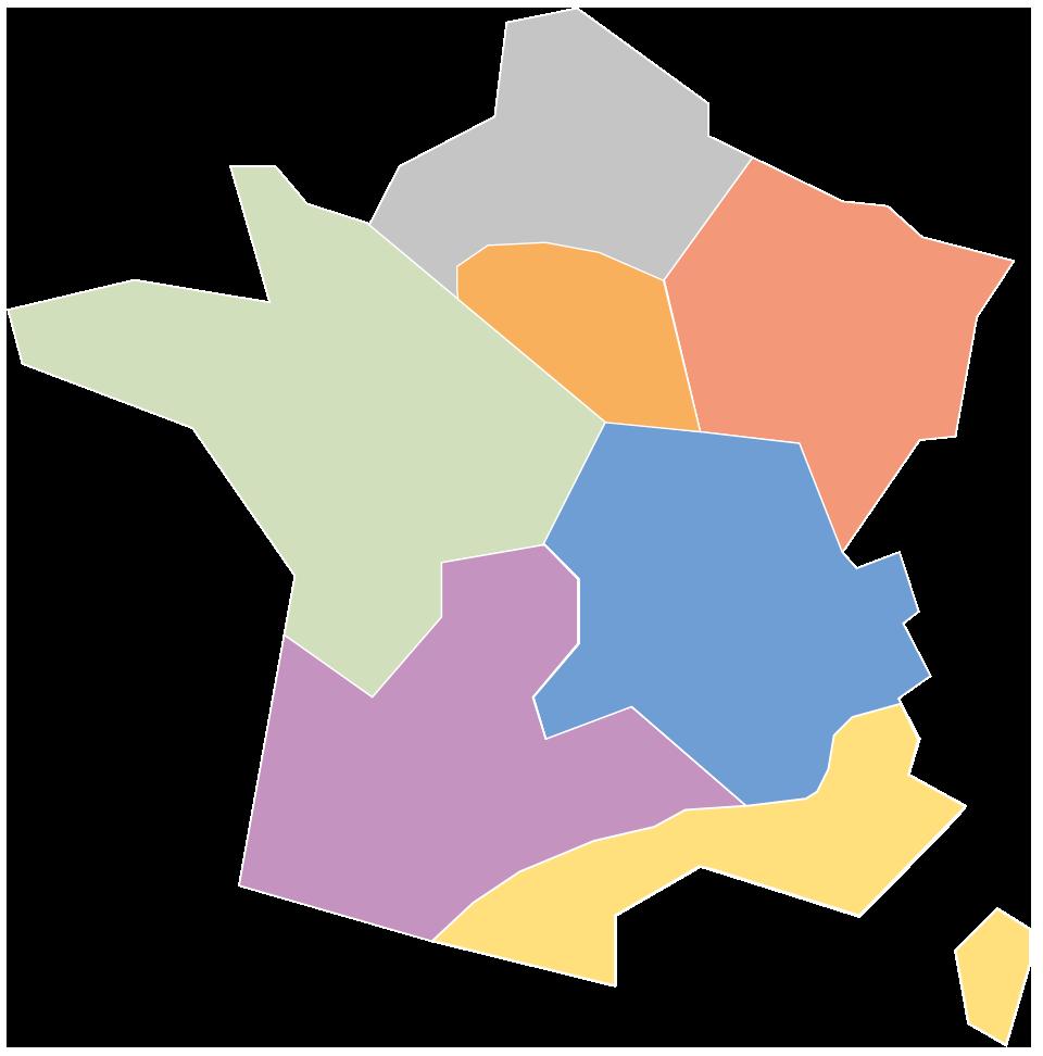 Kaart van de Sempatap-verkopers in Frankrijk