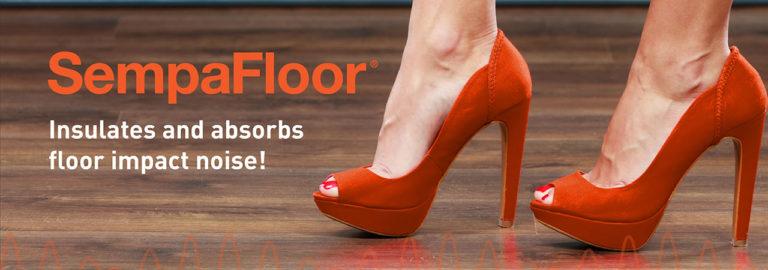 Ontdek SempaFloor, een product voor geluidsisolatie van vloeren dat geluiden van lopen en impactgeluiden op de vloer tegenhoudt.