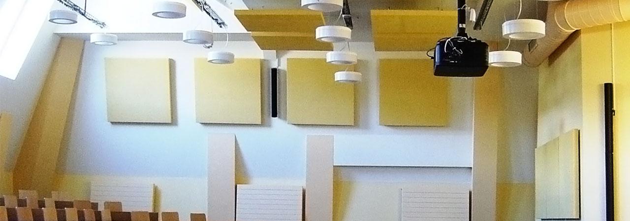 ABSOPANEL akoestische panelen verbeteren het geluidscomfort en absorberen binnengeluiden.