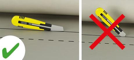 De producten voor geluidsisolatie, warmte-isolatie en geluidsabsorptie zijn eenvoudig met een cutter op maat te snijden.