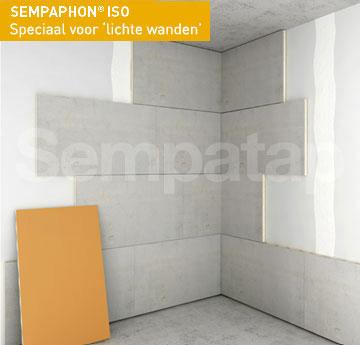 Het product voor geluidsisolatie en warmte-isolatie SempaPhon ISO is perfect voor plaatsing op een lichte wand.
